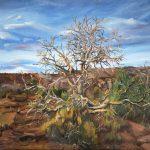Oil painting of desert on wood